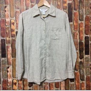 Petite Sophisticate 100% linen blouse size MP